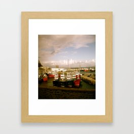 Boats Bobbing in the Blue of the Bay Framed Art Print