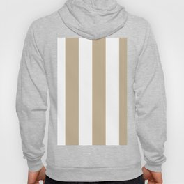 Wide Vertical Stripes - White and Khaki Brown Hoody