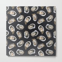 Oysters by the Dozen in Charcoal Metal Print