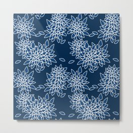 Blue abstract flowers . Metal Print