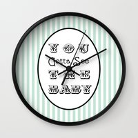 seinfeld Wall Clocks featuring Seinfeld Gotta See the Baby by Eyne Photography