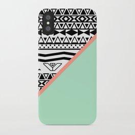 Block | Black White Aztec Pattern Mint Green Color Block iPhone Case