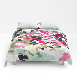 Finch - Modern abstract painting in free style modern colors navy, mint, blush, pink, white Comforters