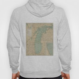 Vintage Lake Michigan Lighthouse Map (1898) Hoody