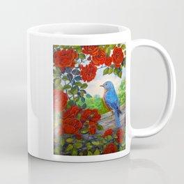 Bluebird and Red Roses Coffee Mug