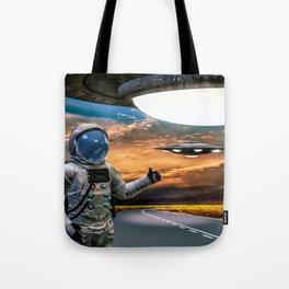 Hitchhiking Around The Universe Tote Bag