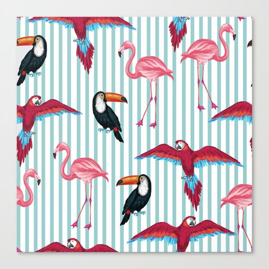 flamingo in tropic mood Canvas Print