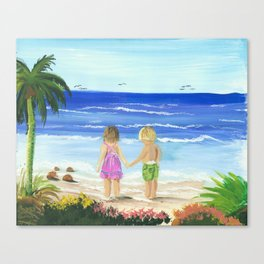 Children by the sea Canvas Print