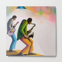 African American Masterpiece 'Bass, Sax, and Jazz' by Benny Andrews Metal Print