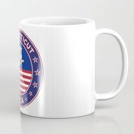 Connecticut, Connecticut t-shirt, Connecticut sticker, circle, Connecticut flag, white bg Coffee Mug