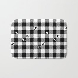 Black and White Checkered Animals Bath Mat