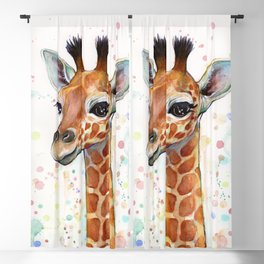 Giraffe Baby Watercolor Blackout Curtain