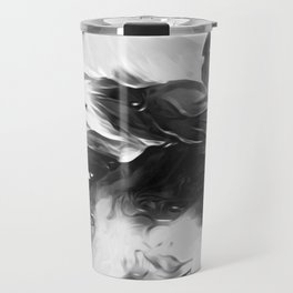 Raven: an abstract piece in hues of black and white by KKingCreations Travel Mug