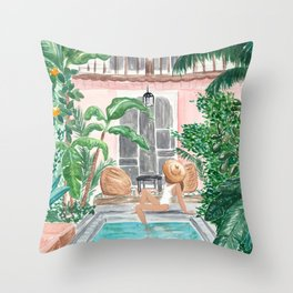 Moroccan Dream - Brunette Hair (Other Hair & Skin Tones Available) Throw Pillow