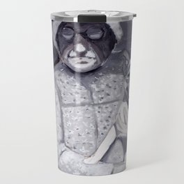 An Old Lady and Her Little Dog in Gouache Travel Mug