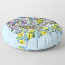 Bird Fountain Flower Garden Gathering Floor Pillow
