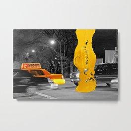 NYC Yellow Cabs - Movie Night - Brush Stroke Metal Print