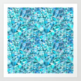 Icy Blue Crystalline Abstract Geometric structures Art Print