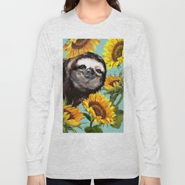 Sloth with Sunflowers Long Sleeve T-shirt