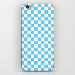 Light Blue Checkerboard Pattern iPhone Skin