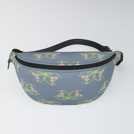Nouveau styled rose on blue Fanny Pack