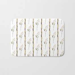 Abstract navy blue gold brown floral stripes Bath Mat