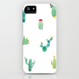Summer pattern with cacti and yellow cats ! iPhone Case