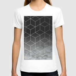 Silver Geometric Cubes Trendy White Grey Marble T-shirt