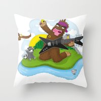 bigfoot Throw Pillows featuring Bigfoot Rocks! by Peteman