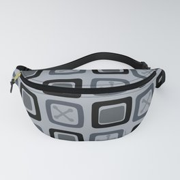 Mid Century Modern Squares Lines Slate Gray Black Fanny Pack