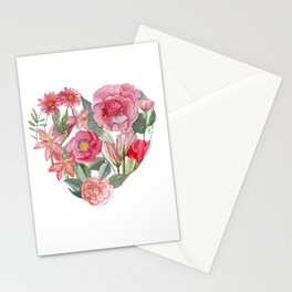 heart and flower mean love Stationery Cards