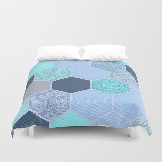 Denim Blue, Aqua & Indigo Hexagon Doodle Pattern Duvet Cover