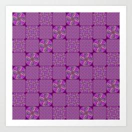 Bright Purple Rose Quilt Art Print