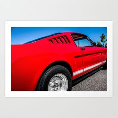 1965 Red Fastback Ford Mustang Muscle Car Art Print