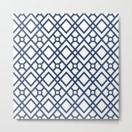 Modern Geometric Diamonds and Circles Pattern Navy Blue and White Metal Print