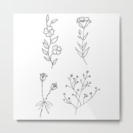 Dainty Wildflower Bouquets Illustration Metal Print