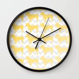 Yellow Mini Aussie on Chevron Wall Clock
