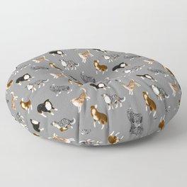 Australian Shepherd Pattern (Gray Background) Floor Pillow