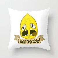 lemongrab Throw Pillows featuring Lemongrab Unacceptable by Kam-Fox