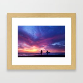 Surfer's Sunset Framed Art Print