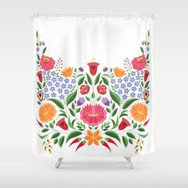 Hungarian folk pattern – Kalocsa embroidery flowers Shower Curtain