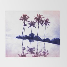 Palm Tree Reflections Sunset Throw Blanket