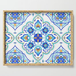 Hand Painted Moroccan Tiles - Aqua and Gold Serving Tray