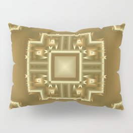 Gold and Cream Geometric Pattern  Pillow Sham