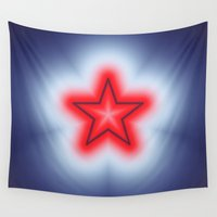 bands Wall Tapestries featuring Red White and Blue Star by Charma Rose