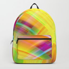 Vintage curved ellipse with a crisp sand accent and all the colors of the rainbow.  Backpack