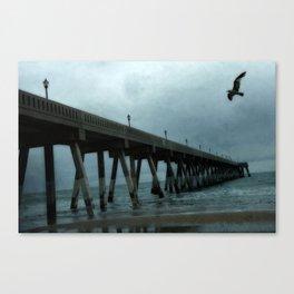 Surreal Haunting Coastal Blue Ocean Fishing Pier Canvas Print
