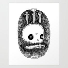Four of Knives Skeleton Tarot Art Print