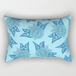Cabbage Roses in Teal Rectangular Pillow