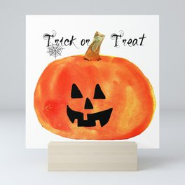 Trick or Treat Jack-O-Lantern, Halloween Pumpkin Mini Art Print